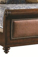 Beds with Padded Raffia Panels and Brass Nailhead Trim