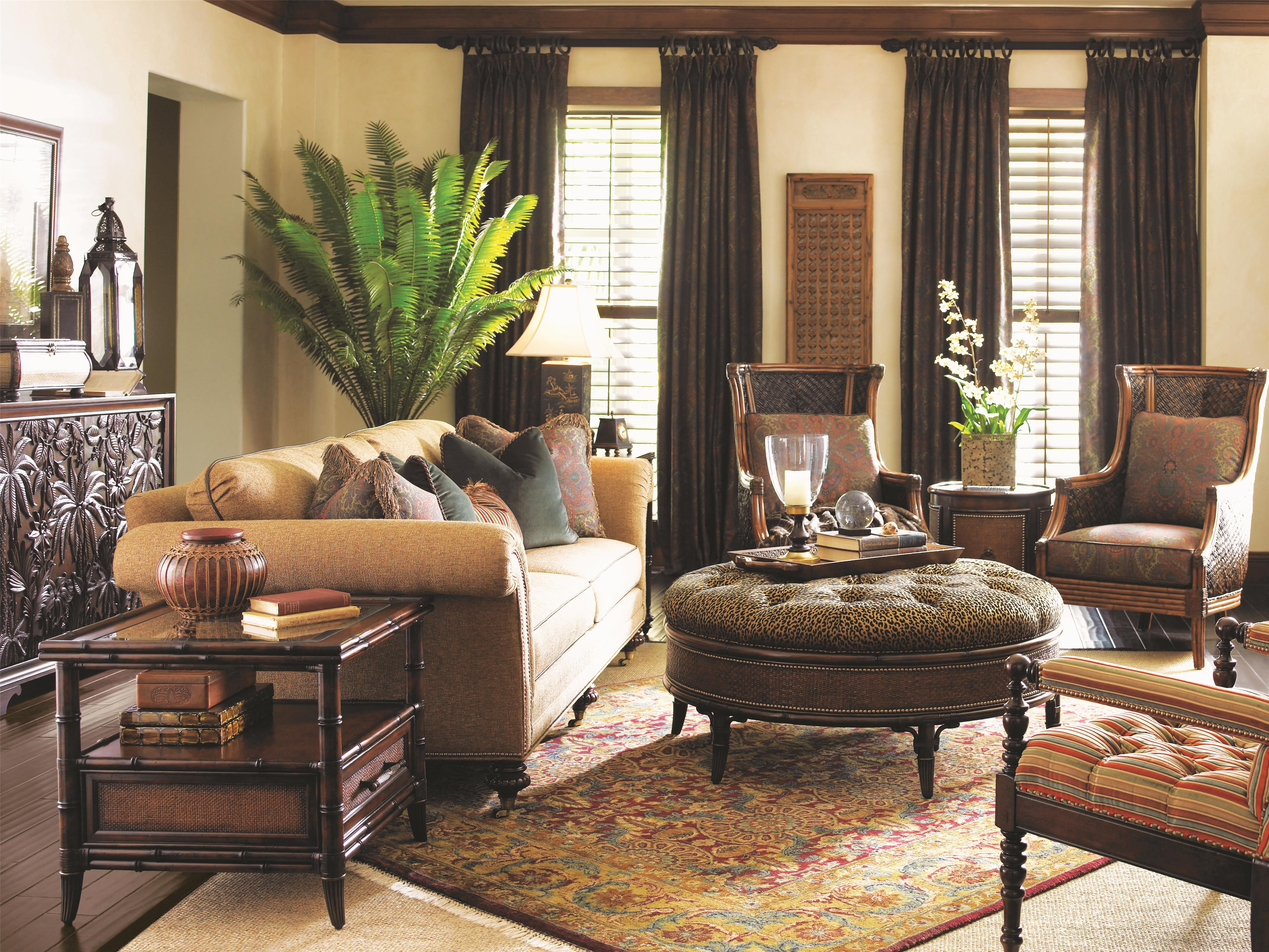tommy bahama home landara shoal creek sofa with turned legs and nailhead border belfort furniture sofas - Tommy Bahama Bedroom Decorating Ideas
