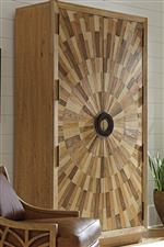 Select Pieces Boast Sunburst Veneers of White Ash, Oak, Pecan, and Walnut in a Radial Matched Pattern