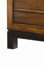 The Bali Sun-Drenched Sienna Wood Finish is Highlighted with Beautiful Rich Walnut Parsons Legs
