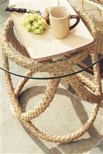 Round Glass End Table with Open, Weaved Wicker Base