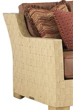 Gently Flared Rattan Backs and Track Arms