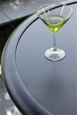 Table Tops Are Durable and Weather-Resistant Laminate Finished in Polished Satin Black