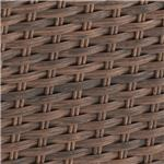 Walnut finish on all-weather wicker and cast aluminum