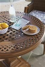 Intricate woven patterns are featured on cast aluminum tops