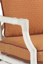 Hand Burnished White Linen Finish and Aluminum Create the Leather Wrapped Woven Bamboo Effect Seen on Chair and Sofa Arms