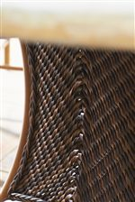 Detail of All-Weather Synthetic Wicker Featuring Intricate Woven Patterns and Designs in a Warm Umber Finish