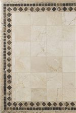 Stone Top with Ivory Travertine, Cafe Emperador, and Suede Travertine Geometric Shapes and Details
