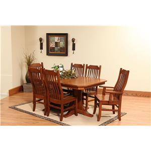 Rotmans Amish Copper Canyon Solid Wood Double-Pedestal Table with Waved Slat-Back Arm Chairs Side Chairs