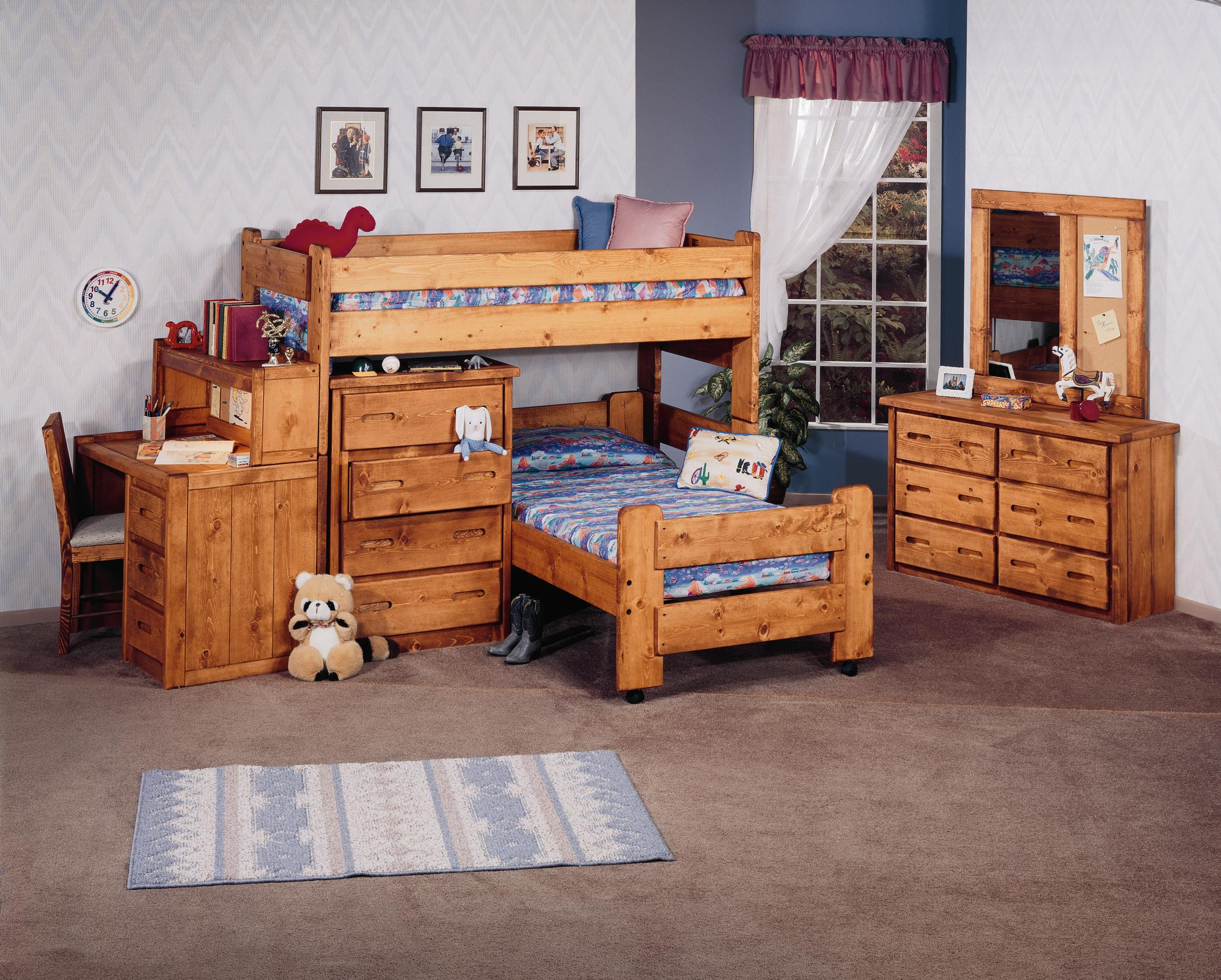 trendwood bunkhouse twin twin roundup modular loft bed with trendwood bunkhouse twin twin roundup modular loft bed with dresser and shelf units sparks homestore home furnishings direct loft beds thatcher