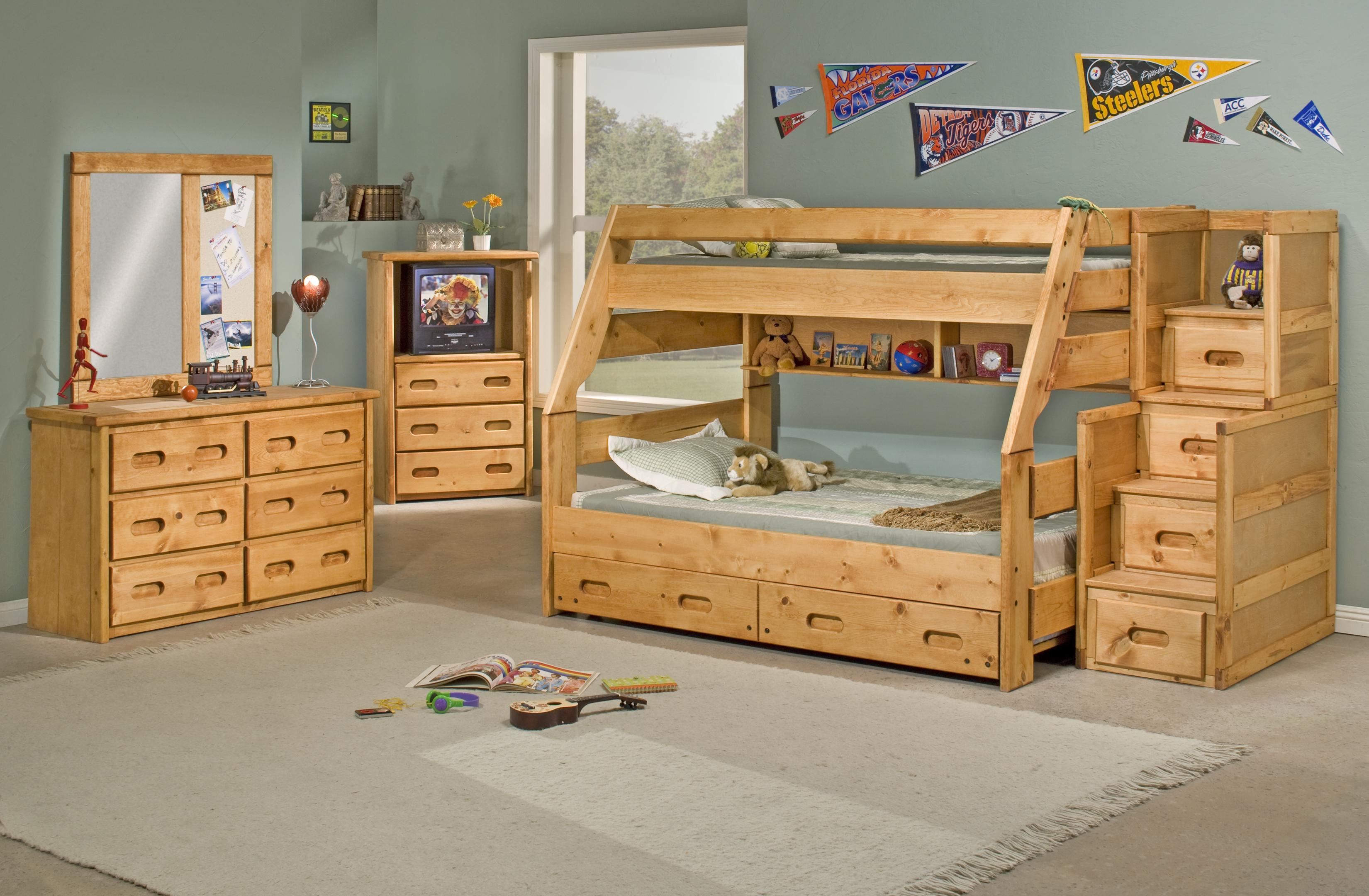Trendwood Bunkhouse Twin Twin Wrangler Bunk Bed with Storage