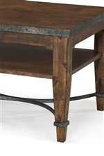 Metal Base and Table Edge Details Create Rustic Style