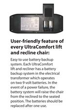 Each Recliner Features a Back Up Battery System