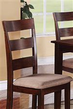 Two Slat, Ladder Backed Chairs With Rose Colored Upholstery