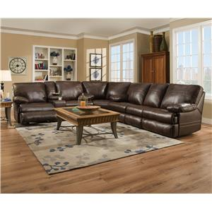 United Furniture Industries 50981 Casual Three Piece Sectional Sofa with Four Recliners