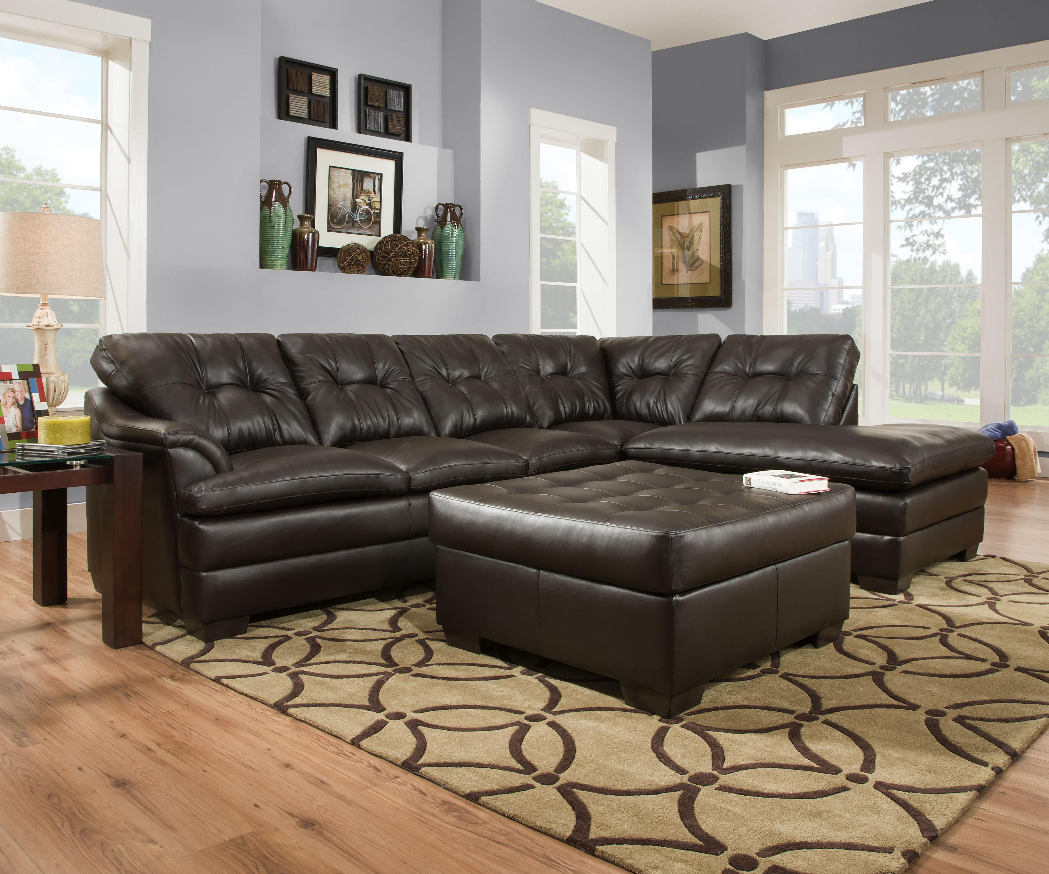 Simmons Upholstery 5122 Transitional Sectional Sofa with Tufted Back - Dunk  u0026 Bright Furniture - Sectional Sofas