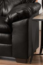 Pillow Topped Arms and Exposed Wood Feet Blend with Crisp Upholstered Edges for a Casual-Contemporary Style