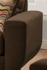 Wide Track Arms with Slight Curve Give Piece a Modern and Clean Style
