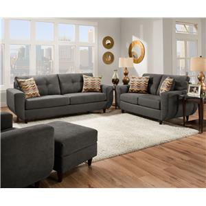 United Furniture Industries 6950 Contemporary Stationary Sofa With Tufted Back Beck 39 S