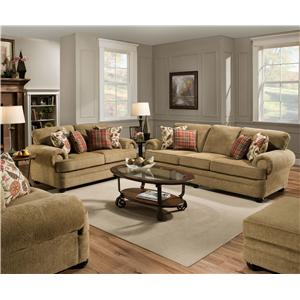 United Furniture Industries 7530 Traditional Three Seat Sofa with Rolled Arms