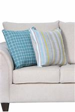 Londonberry Chartreuse and Squared Away Aqua throw pillows