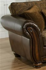 Combination Leather and Chenille Upholstery, Carved Wood Accents and Decorative Throw Pillows
