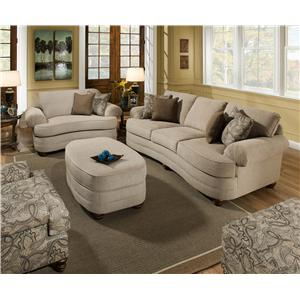 Marvelous United Furniture Industries 90250 Large Scale Three Seat Sofa With Pleated  Rolled Arms