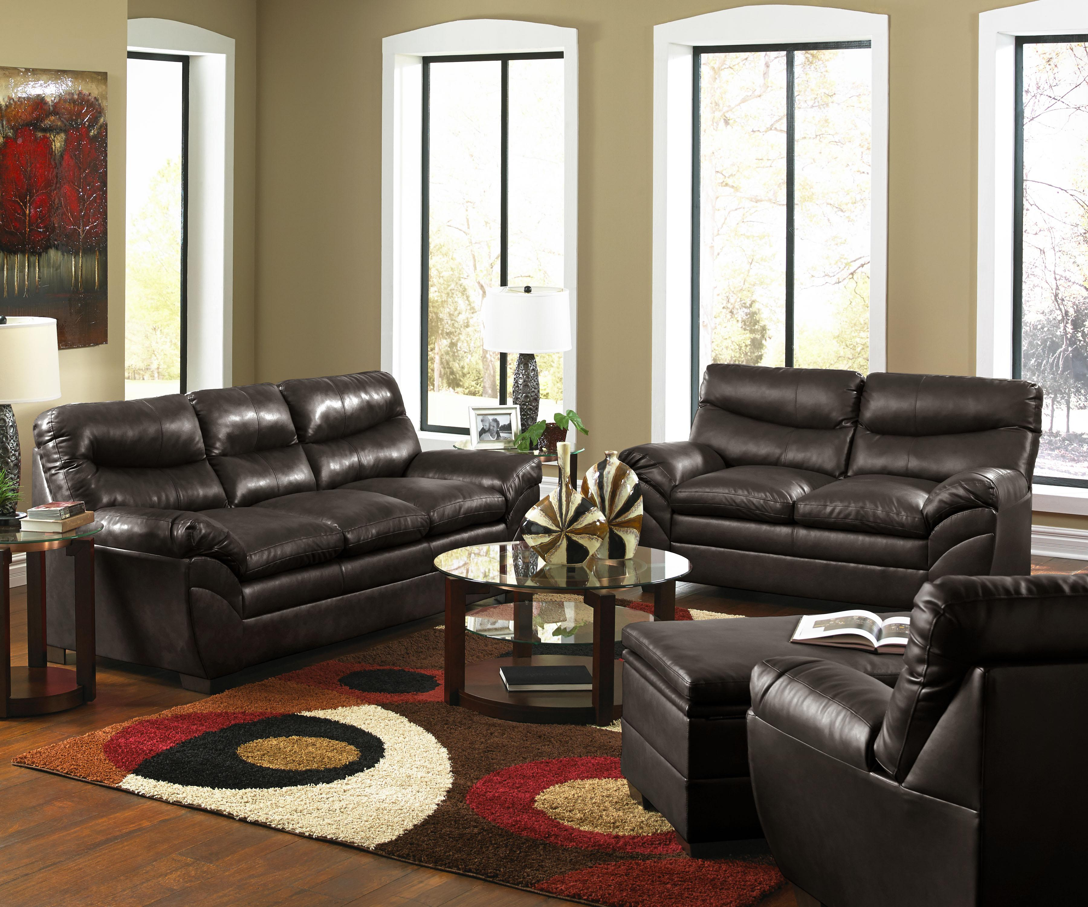 Simmons Upholstery 9515 Stationary Living Room Group - Item Number: 9515 Espresso Living Room Group 1