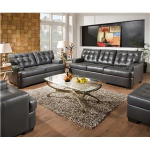 Simmons Upholstery 9590 Tufted Sectional Sofa