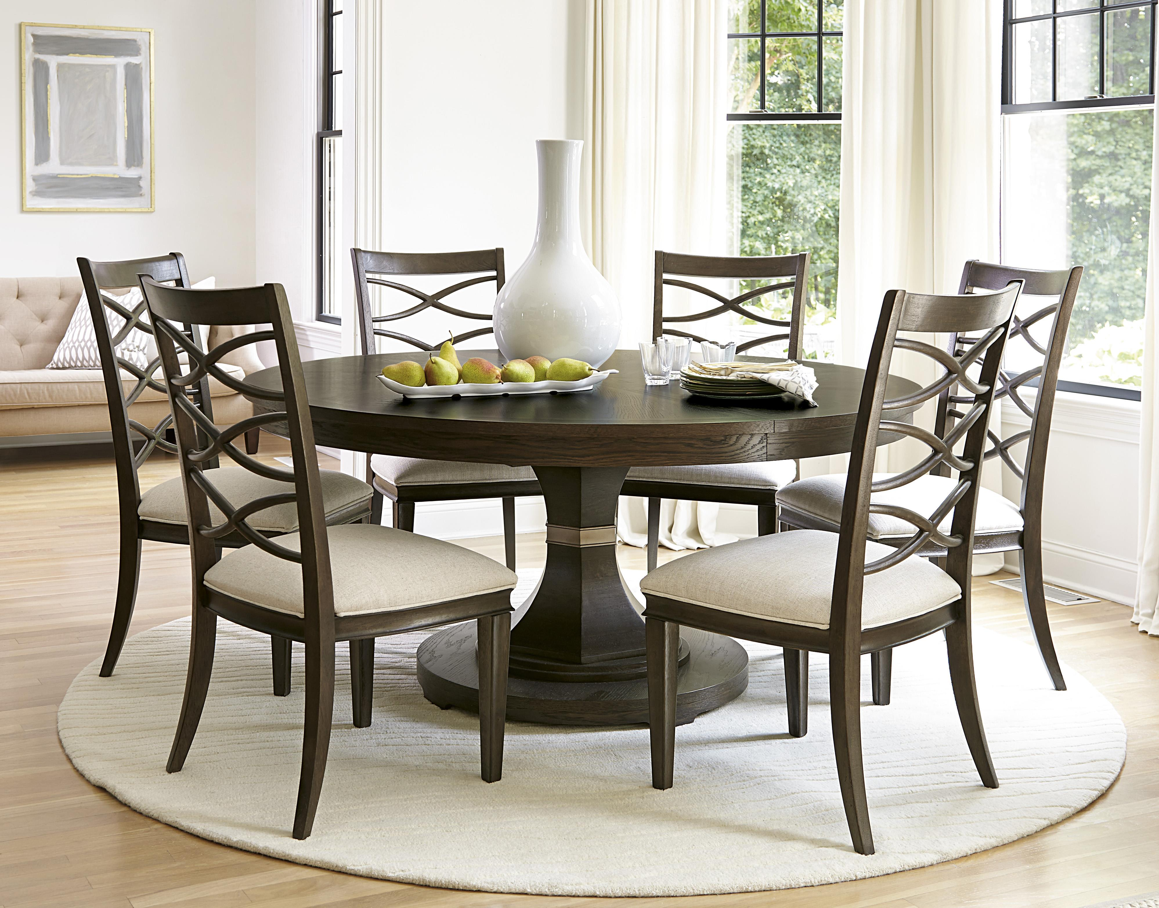 Universal California   Hollywood Hills 7 Piece Dining Set With Round Table  And X Back Chairs   Wayside Furniture   Dining 7 (or More) Piece Set