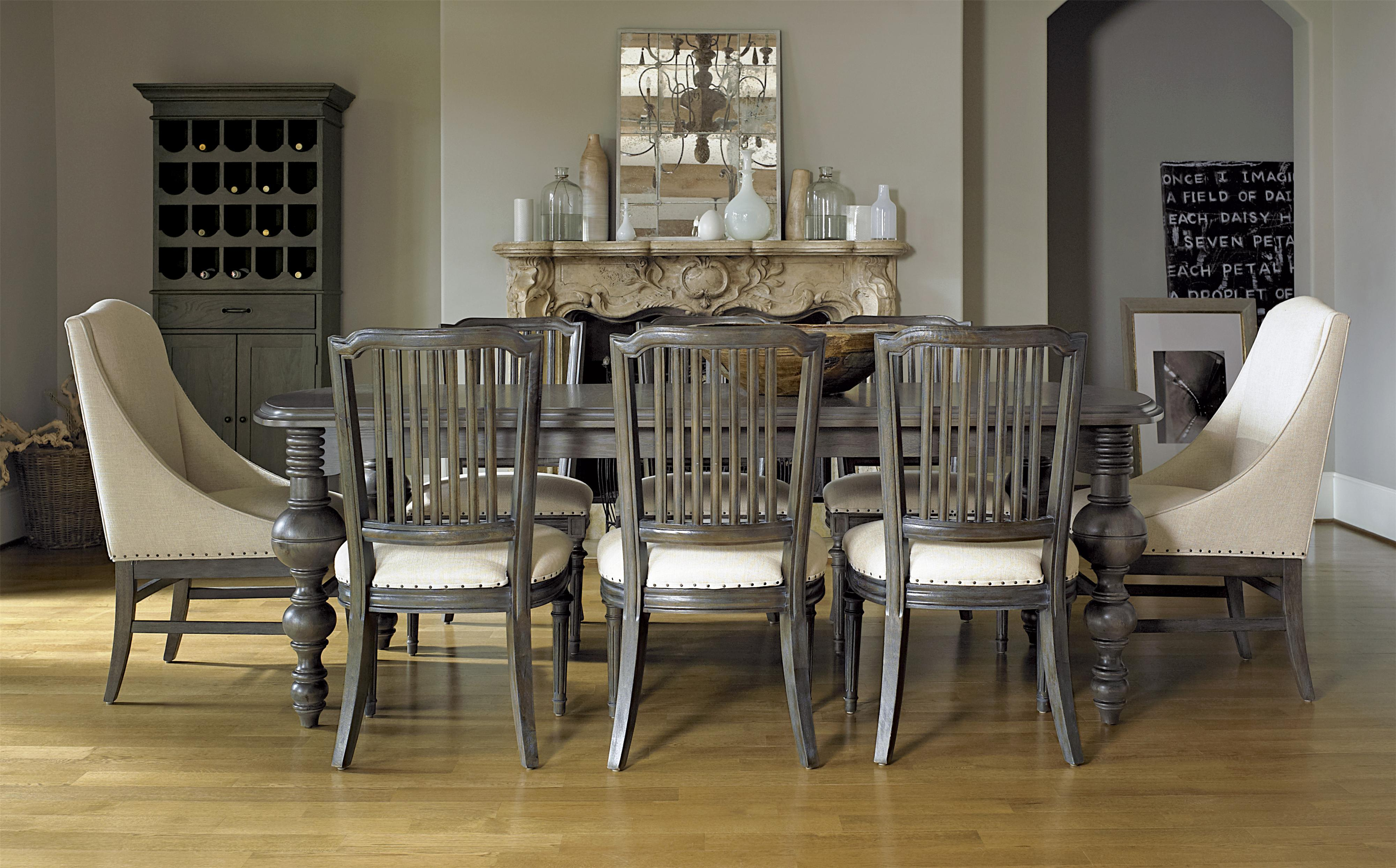 Universal Curated 7 Piece Brownstone Dining Set With Flatiron Table |  Stuckey Furniture | Dining 7 (or More) Piece Sets