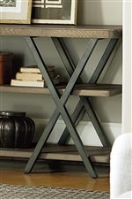 Select Pieces Feature Metal Frames with Wood Tops and Shelves
