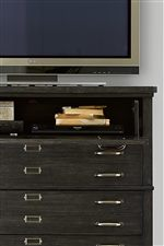 Drop-Front Drawers Provide Media Access
