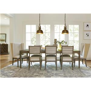 Morris Home Furnishings Platinum Dinner Table with Dentil Molding