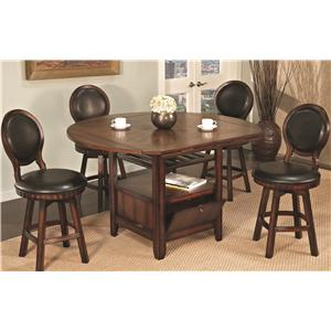 U.S. Furniture Inc 2251/2252 5 Piece Round Top Storage Pub Table and Faux Leather Upholstered Round Back Chair Set