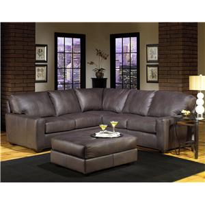 Charmant USA Premium Leather 2655 Transitional Four Seater Sectional Sofa With Track  Arms And Exposed Wood Legs