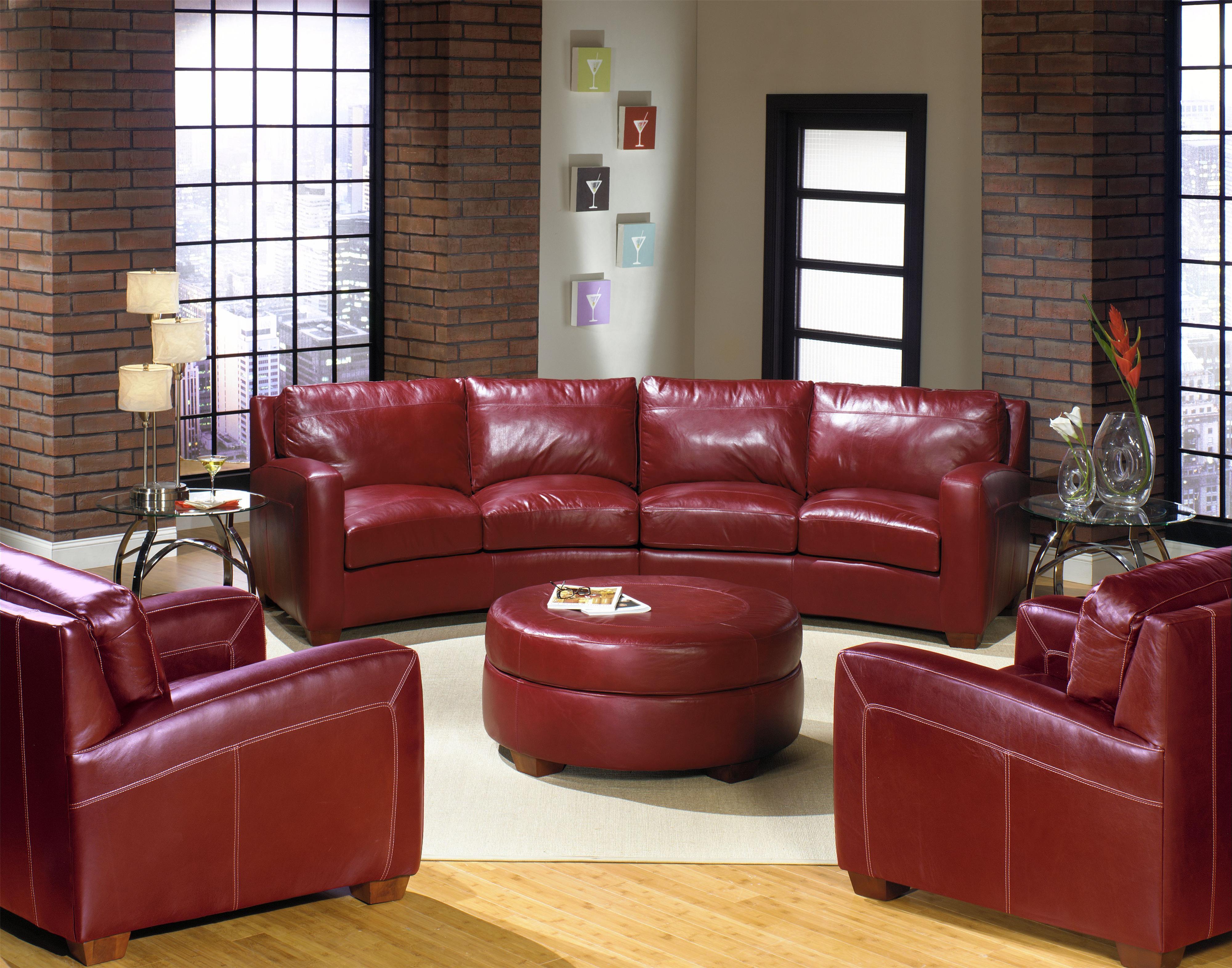 USA Premium Leather 2950 Round Leather Ottoman Wilson s