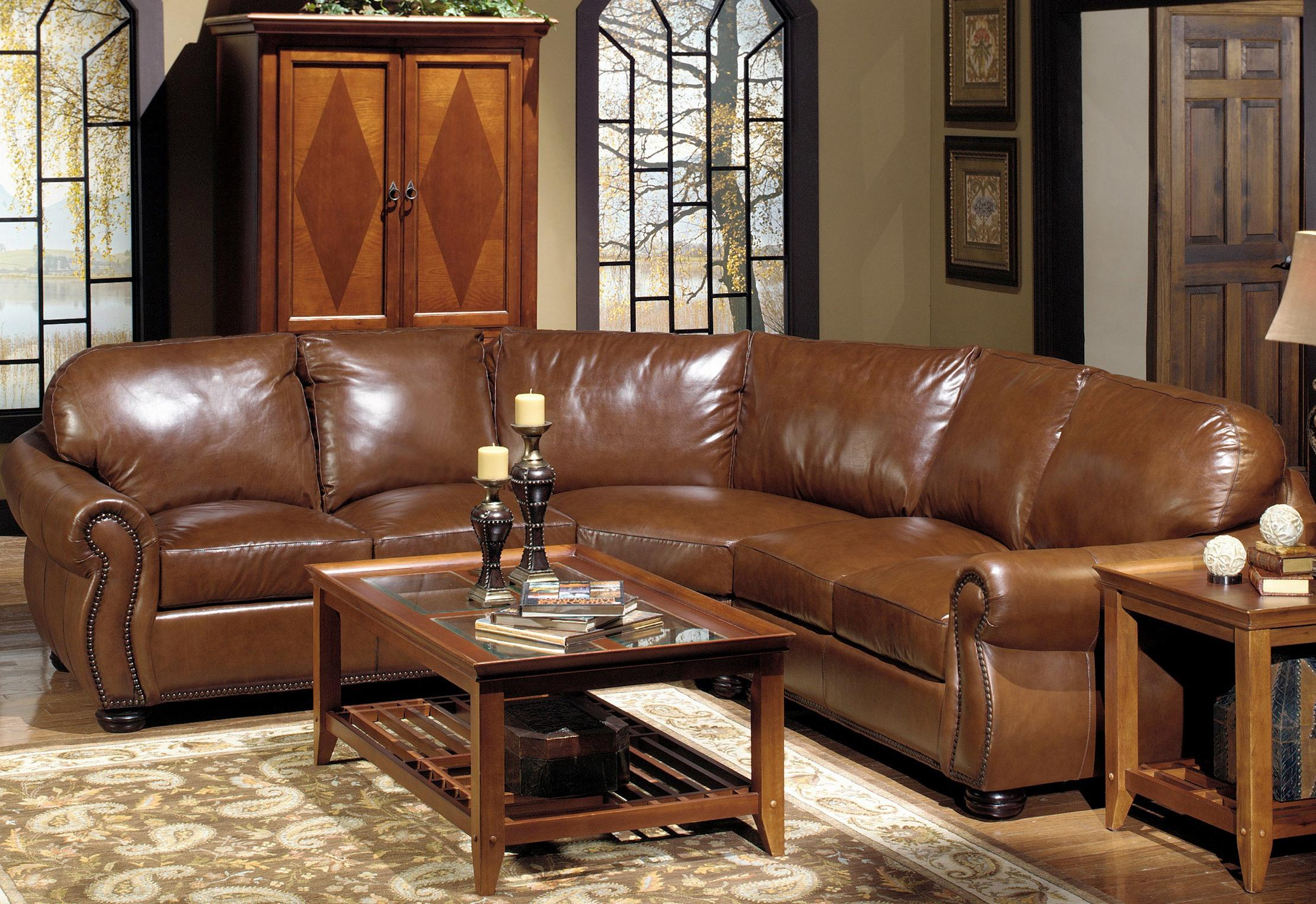 USA Premium Leather 4025 Leather Sectional Sofa with Decorative