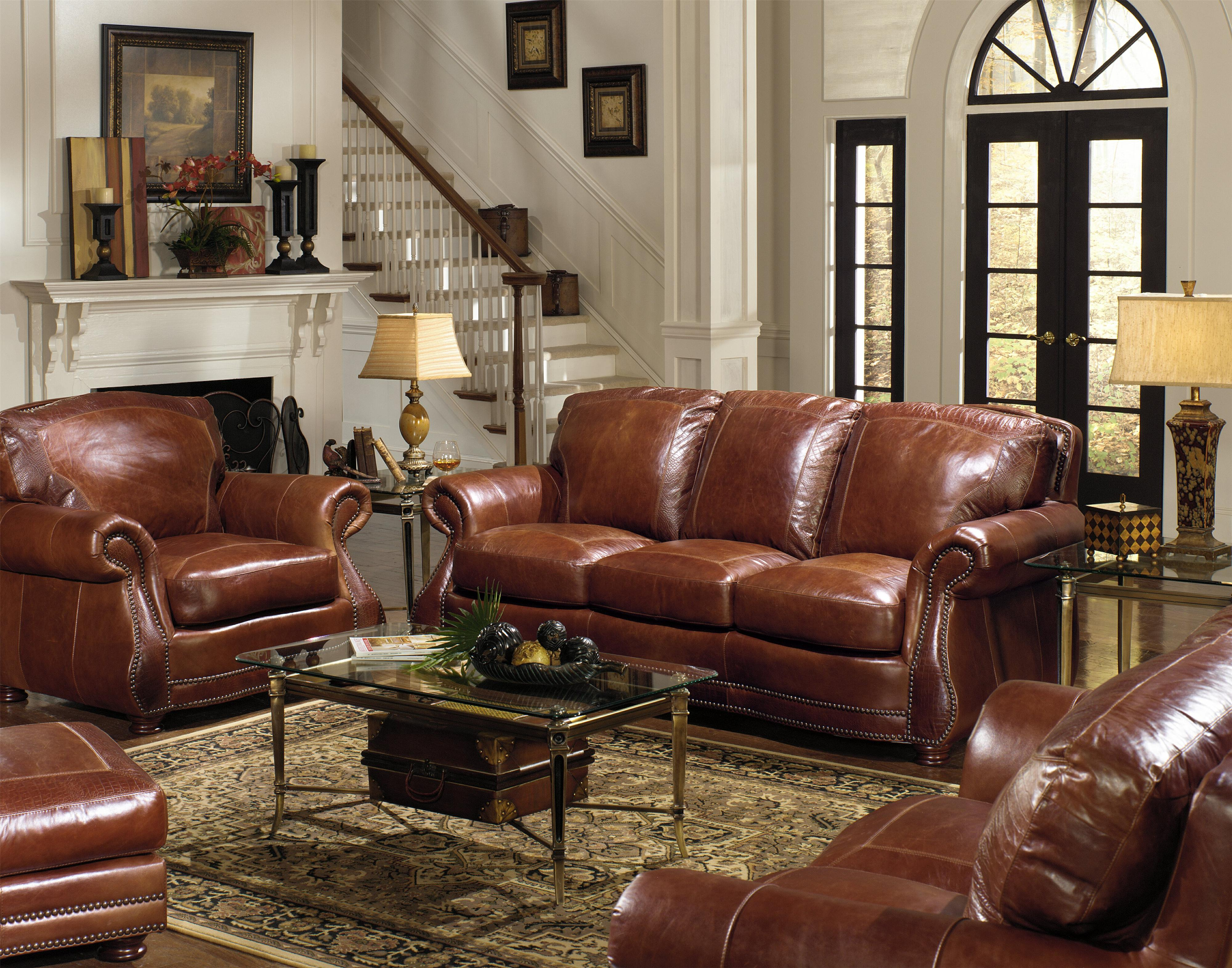 Living Room Furniture Made Usa usa premium leather 9055 traditional roll arm sofa w/ alligator