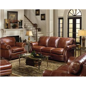 Captivating USA Premium Leather 9055 Stationary Living Room Group