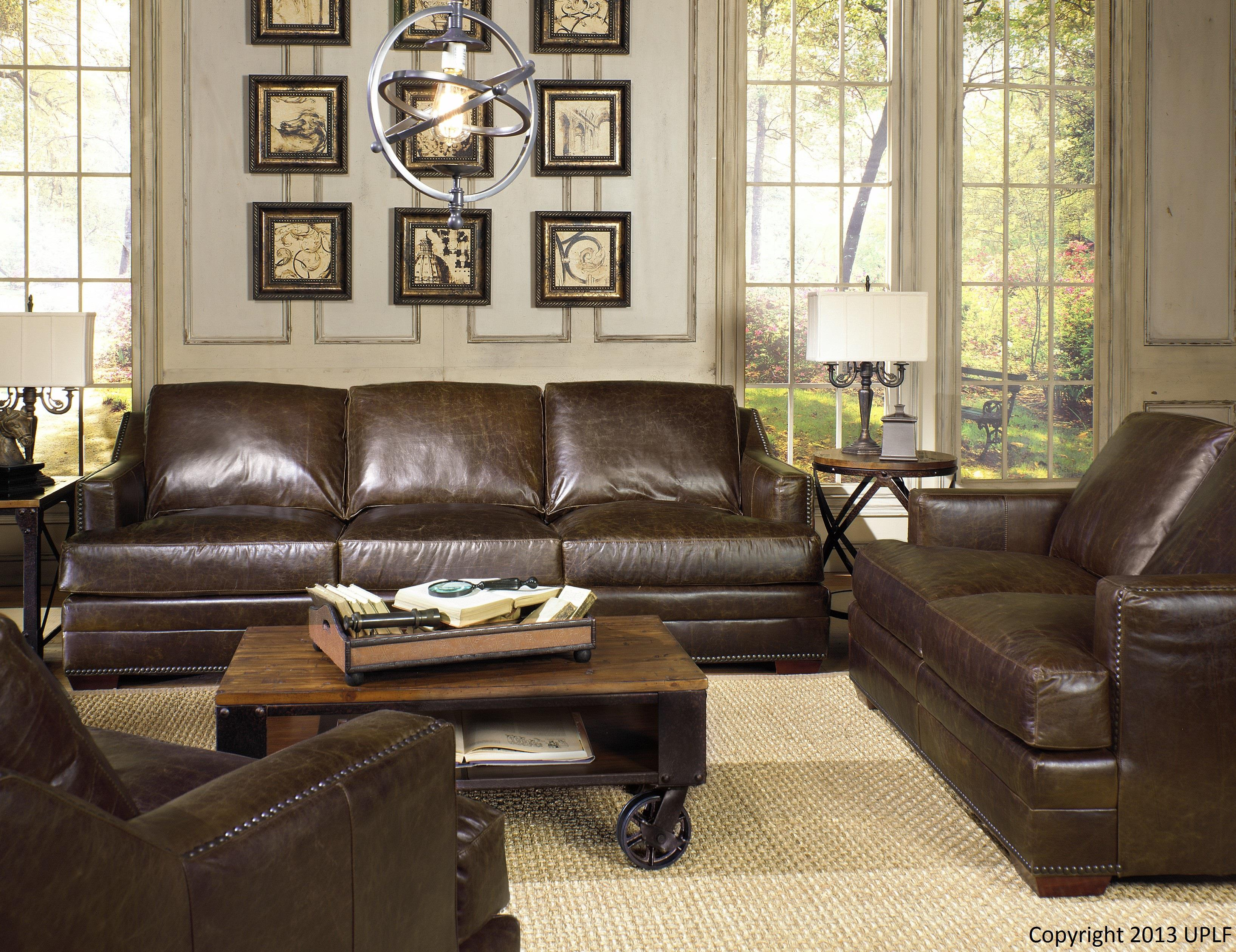 USA Premium Leather 9355 Sectional Sofa in 100% Leather Upholstery