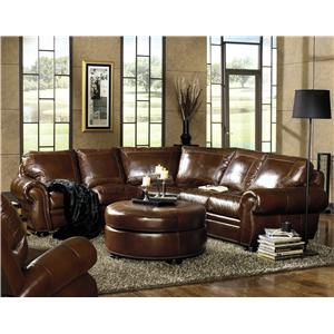 USA Premium Leather 9455 Traditional Sectional with Paisley Embossed Leather and Nailhead Trim  sc 1 st  Dream Home Furniture : nailhead leather sectional - Sectionals, Sofas & Couches
