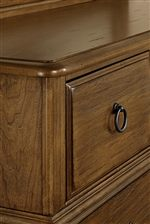 Rounded Corners on Storage Pieces. Chamfered Corners on Drawer Fronts.