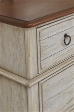 Cherry Finish Tops on Storage Pieces. Plank Look Top Drawers. Rounded Corners and Edges on Drawer Fronts.