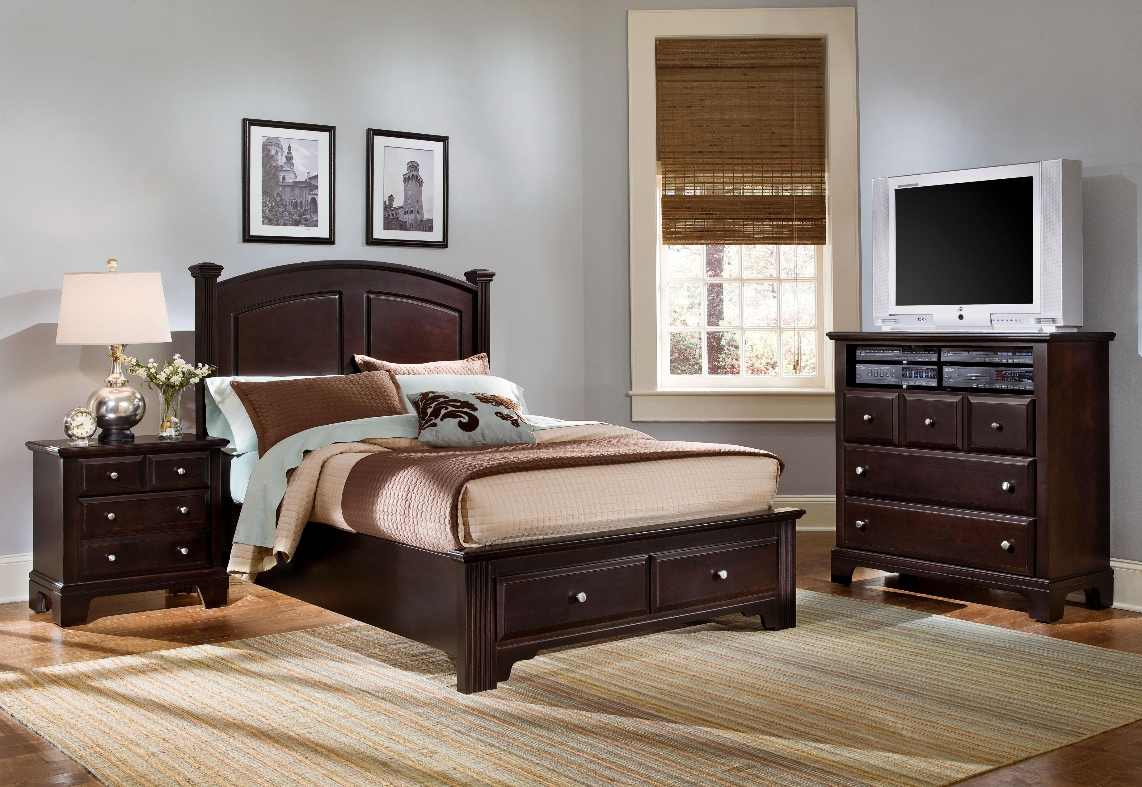 Vaughan Bassett HamiltonFranklin Full Panel Storage Bed Wayside - American furniture and mattress