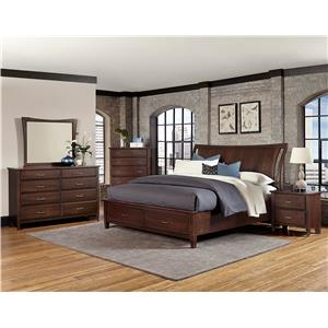Vaughan Bassett Commentary Queen Wing Bed with Storage Footboard