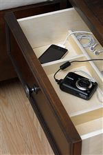 Electronics Storage Compartments in Night Stand Top Drawer