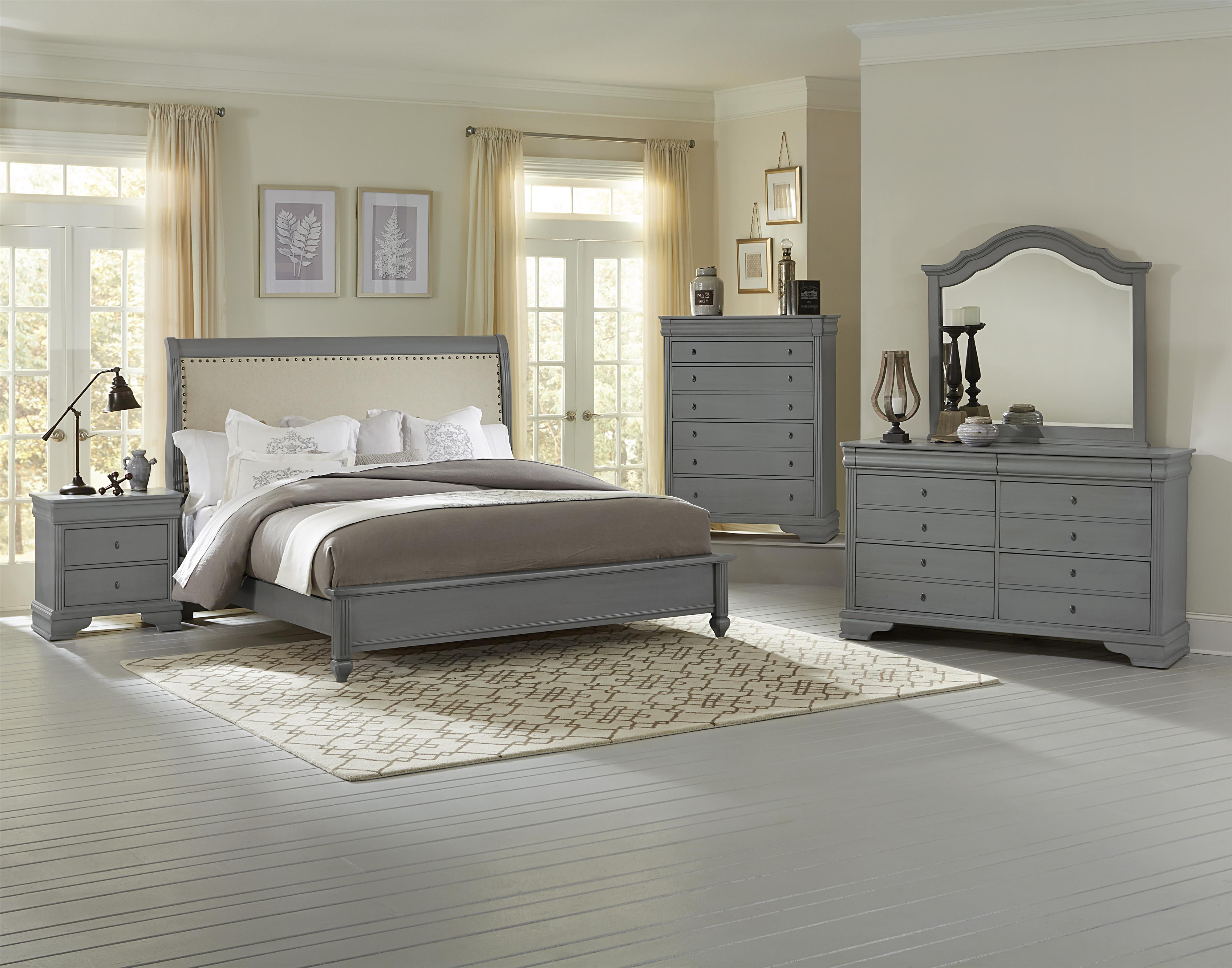 King Bedroom Suite Vaughan Bassett French Market King Bed W Upholstered Headboard