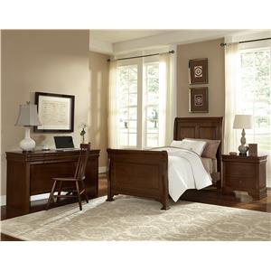 Vaughan Bassett French Market Queen Bed w/ Upholstered Headboard & Low Profile Footboard