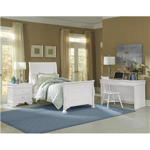 Vaughan Bassett French Market King Bed w/ Upholstered Headboard & Low Profile Footboard